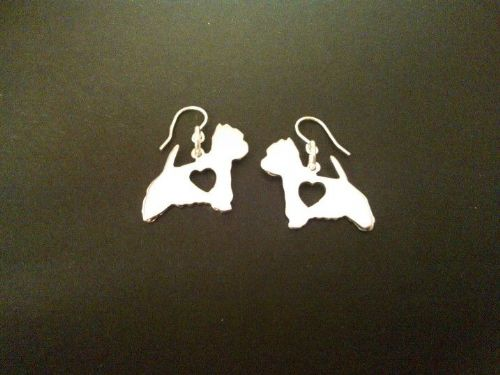 Westie heart earrings made by saw piercing sterling silver